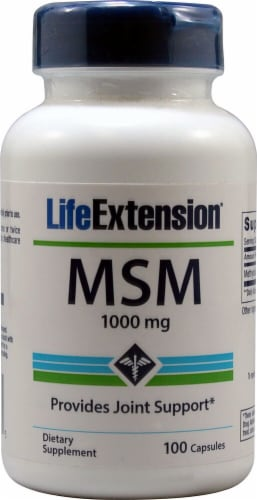 Life Extension MSM 1000mg Capsules Perspective: front