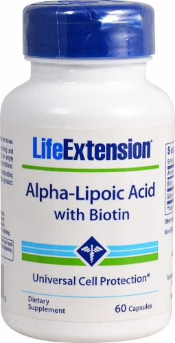 Life Extension Alpha-Lipoic Acid with Biotin Capsules Perspective: front