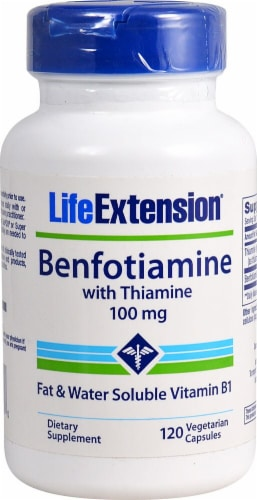 Life Extension Benfotiamine with Thiamine Vegetarian Capsules 100 mg Perspective: front