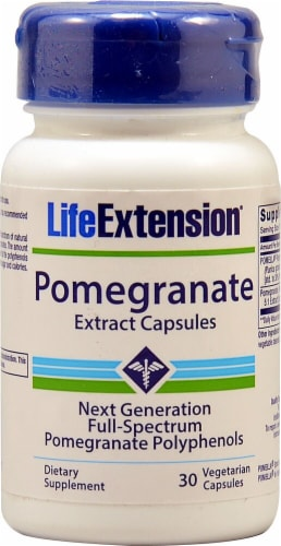 Life Extension Pomegranate Extract Vegetarian Capsules Perspective: front