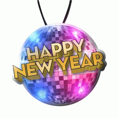 Blinkee HNYDISCOBALLLANYARD Happy New Year Disco Ball LED Charm On Lanyard Perspective: front