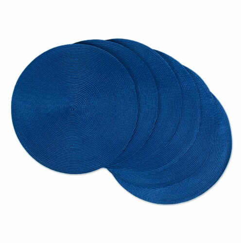 DII Nautical Blue Round Polypropylene Woven Placemat (Set of 6) Perspective: front