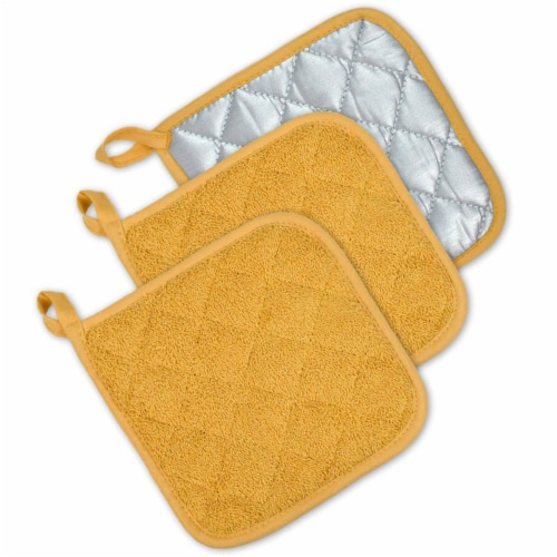DII Mustard Terry Potholder (Set of 3) Perspective: front