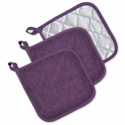 DII Eggplant Terry Potholder (Set of 3) Perspective: front