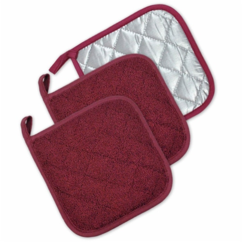 DII Wine Terry Potholder (Set of 3) Perspective: front