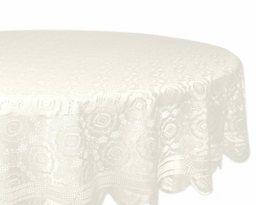 DII Cream Vintage Polyester Lace Tablecloth 63 Round Perspective: front