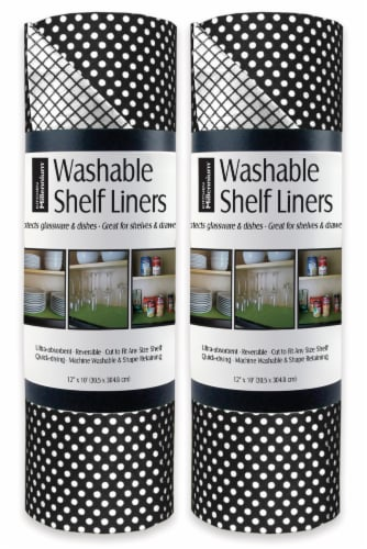 DII Black Dots Shelf Liner (Set of 2) Perspective: front