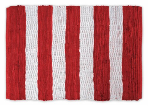 Dii Red/White Stripe Rag Rug 4X6 Perspective: front