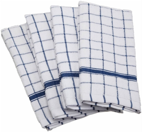DII Nautical Blue Windowpane Terry Dishtowel (Set of 4) Perspective: front