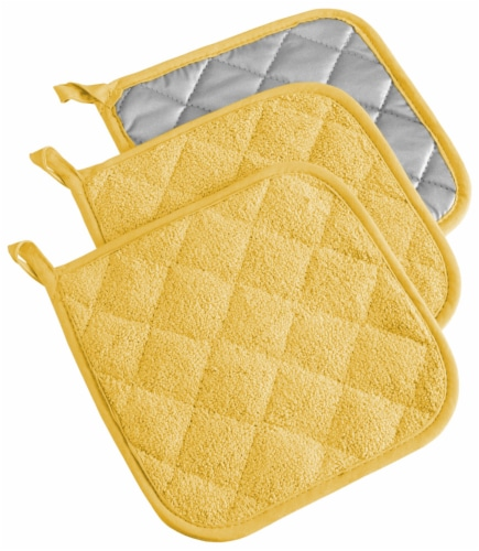DII Yellow Terry Potholder (Set of 3) Perspective: front