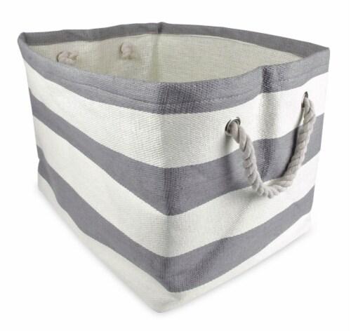 DII Paper Bin Stripe Gray Rectangle Medium Perspective: front