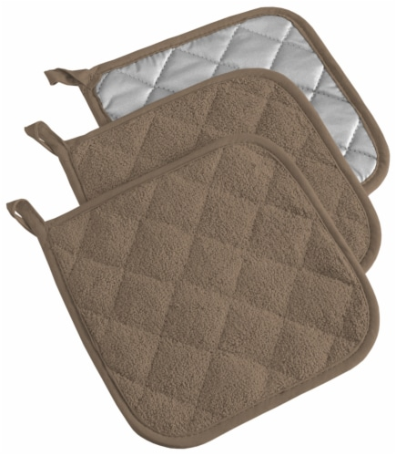 DII Brown Terry Potholder (Set of 3) Perspective: front