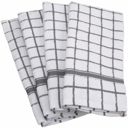 DII Gray Windowpane Terry Dishtowel (Set of 4) Perspective: front