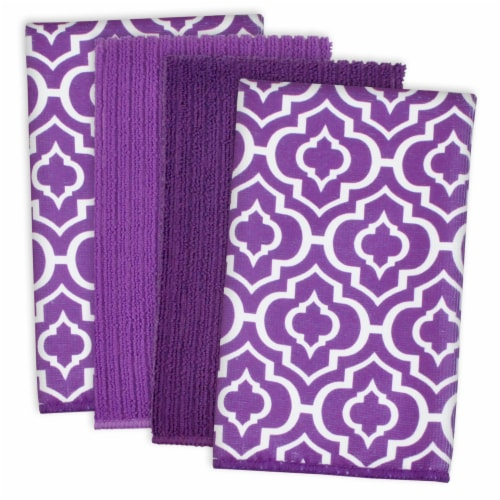 DII Eggplant Lattice Microfiber Dishtowel (Set of 4) Perspective: front