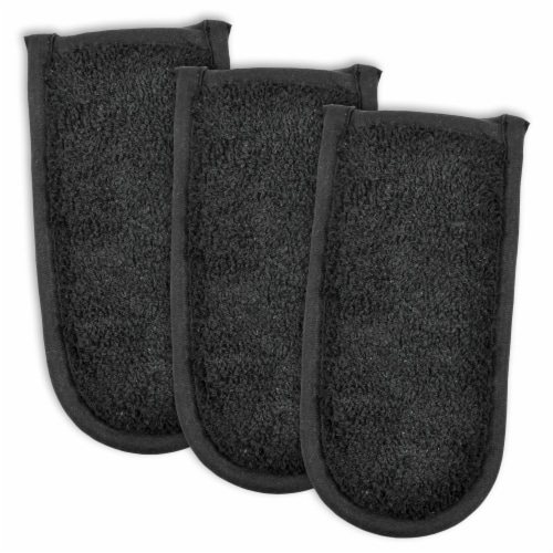 Design Imports Black Terry Pan Handle Covers (Set of 3) Perspective: front