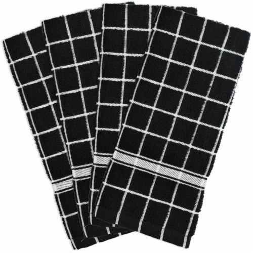 DII Black Solid Windowpane Terry Dishtowel (Set of 4) Perspective: front
