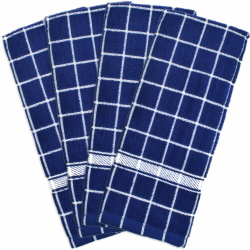 DII Nautical Blue Solid Windowpane Terry Dishtowel (Set of 4) Perspective: front
