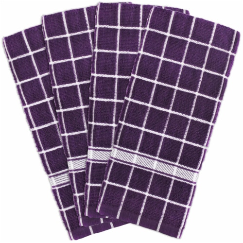 DII Eggplant Solid Windowpane Terry Dishtowel (Set of 4) Perspective: front