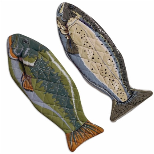 Design Imports CAMZ34778 Fish Oven Mitt - Set of 2 Perspective: front