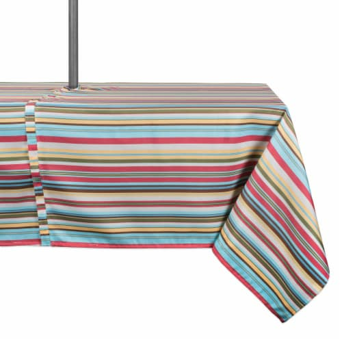 DII Summer Stripe Outdoor Tablecloth With Zipper Perspective: front