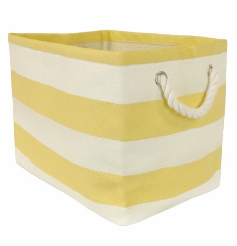 DII Paper Bin Stripe Yellow Rectangle Large Perspective: front