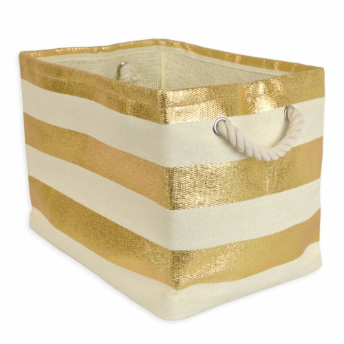 DII Paper Bin Stripe Gold Rectangle Large Perspective: front