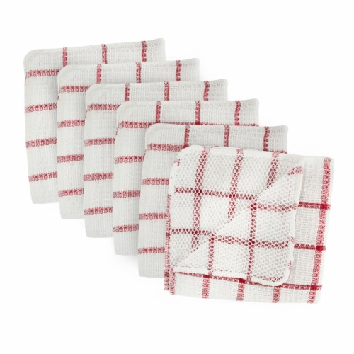 DII Red Scrubber Dishcloth (Set of 6) Perspective: front