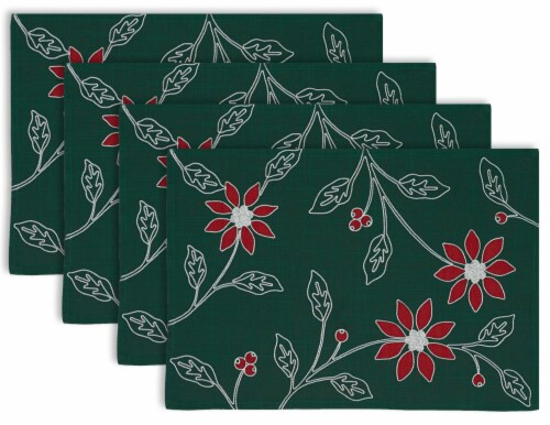 DII Placemat Embroidered Poinsetta (Set of 4) Perspective: front