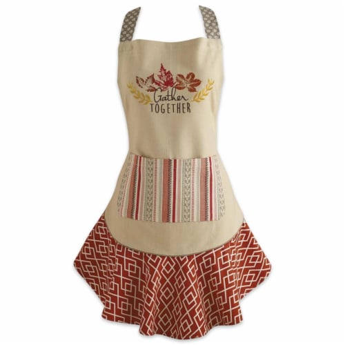 Design Imports CAMZ35782 Gather Together Ruffle Apron Perspective: front