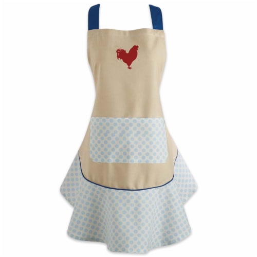 DII Red Rooster Ruffle Apron Perspective: front