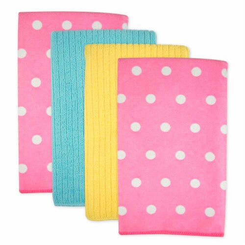 DII Microfiber Dots Dishtowel Pink(Set of 4) Perspective: front