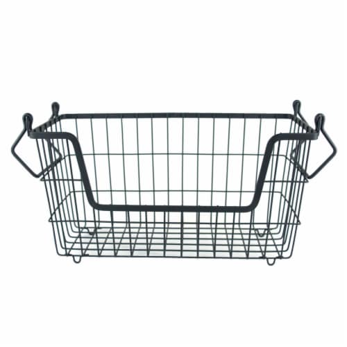 DII Metal Basket Black Rectangle Small Perspective: front
