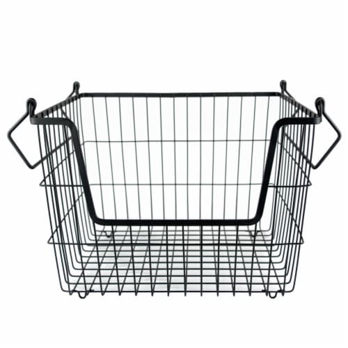 DII Metal Basket Black Rectangle Medium Perspective: front
