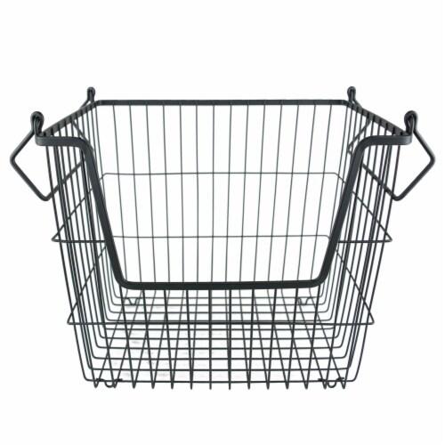 DII Black Rectangle Metal Basket Large Perspective: front