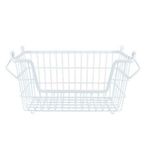 DII Metal Basket White Rectangle Small Perspective: front