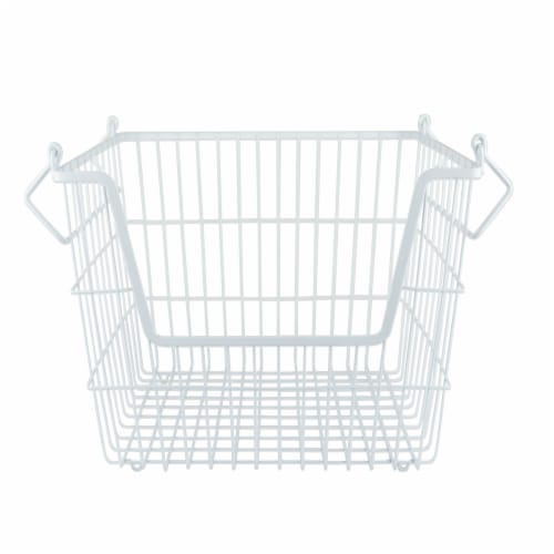 DII Metal Basket White Rectangle Large Perspective: front