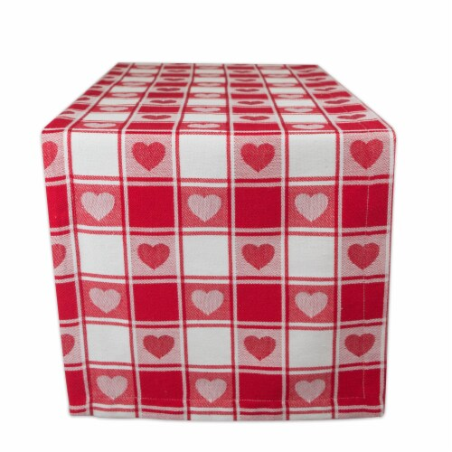 DII Hearts Woven Check Table Runner Perspective: front