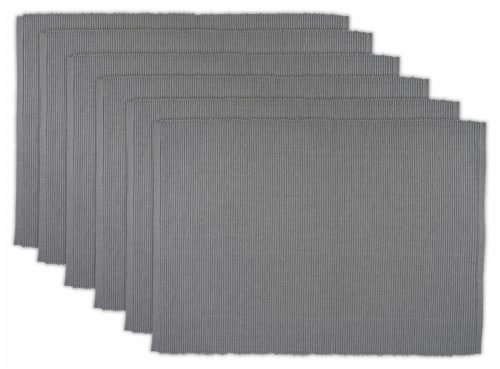 DII Gray Ribbed Placemat (Set of 6) Perspective: front