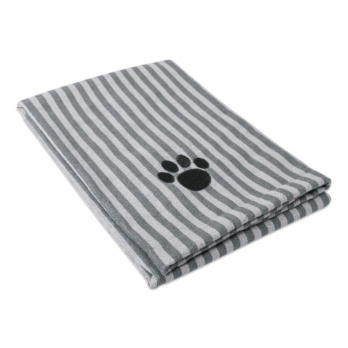 DII Gray Stripe Embroidered Paw Pet Towel Perspective: front