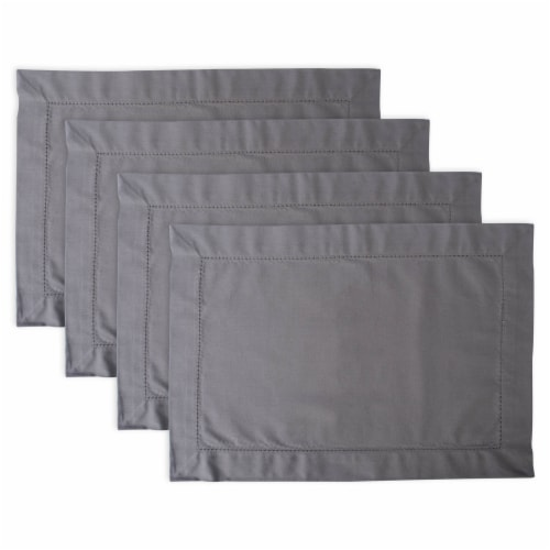 Design Imports CAMZ37111 Gray Hemstitch Placemat - Set of 4 Perspective: front