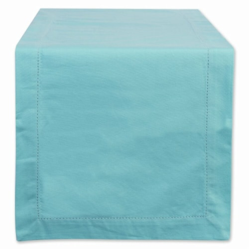 Design Imports CAMZ37121 14 x 108 in. Aqua Hemstitch Table Runner Perspective: front