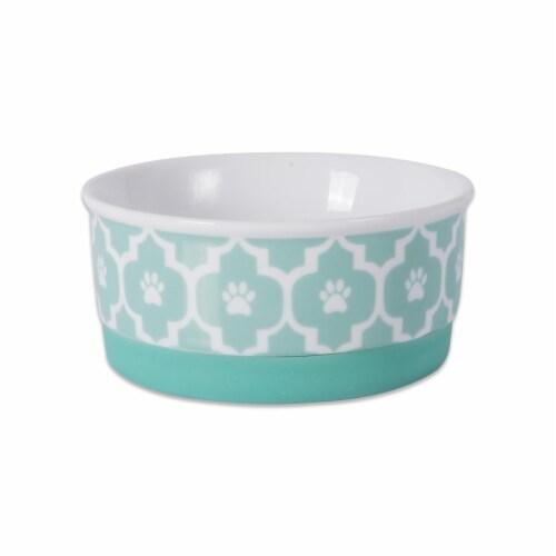 Design Imports CAMZ37260 4.25 x 2 in. Lattice Pet Bowl, Aqua - Small Perspective: front