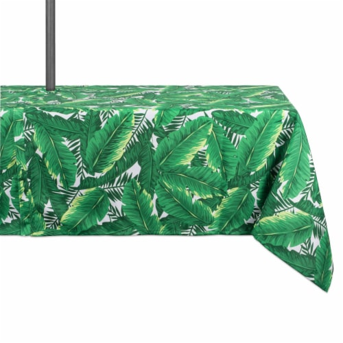 DII Banana Leaf Outdoor Tablecloth With Zipper Perspective: front