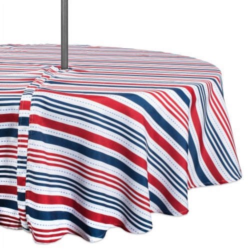 DII Patriotic Stripe Outdoor Tablecloth With Zipper 60 Round Perspective: front