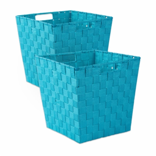 Design Imports CAMZ37523 13x13x13in Trapezoid Nylon Storage Bin Basketweave, Teal-Set of 2 Perspective: front
