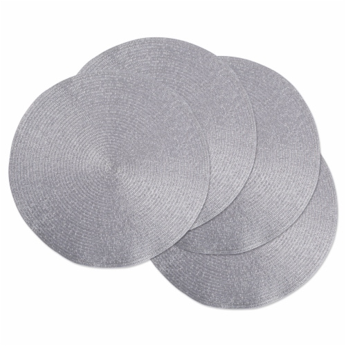 DII Metallic Silver Round Polypropylene Woven Placemat (Set of 4) Perspective: front