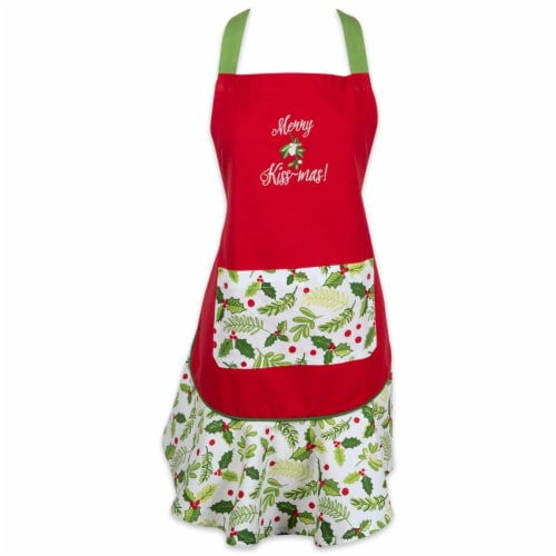 Design Imports CAMZ37665 Merry Kissmass Ruffle Apron Perspective: front