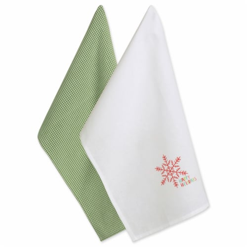 DII Green Check & White Happy Holidays Dishtowel (Set of 2) Perspective: front