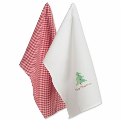 DII Red Check & White Merry Christmas Dishtowel (Set of 2) Perspective: front