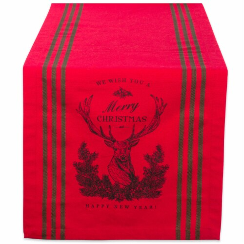 DII Red Stag Christmas  Print Table Runner Perspective: front